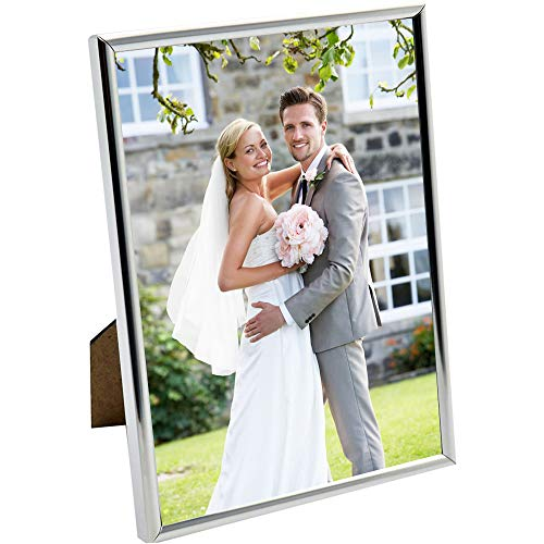HUIXIANG Silver Photo Frames 7x5 Metal Picture Frame Vertical or Horizontal Plain Style Photo Frame for Wall Table Top Thin Edge Nice Gift for Mother's Day Wedding Anniversary 5 by 7 Inch Silver