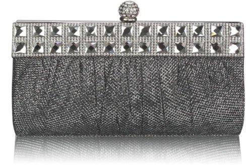 TrendStar Damen Geraffte Funkelnden Kristall Satin Braut Unterarmtasche Abend Tasche Partei Geldbörse Schwarz/Silber
