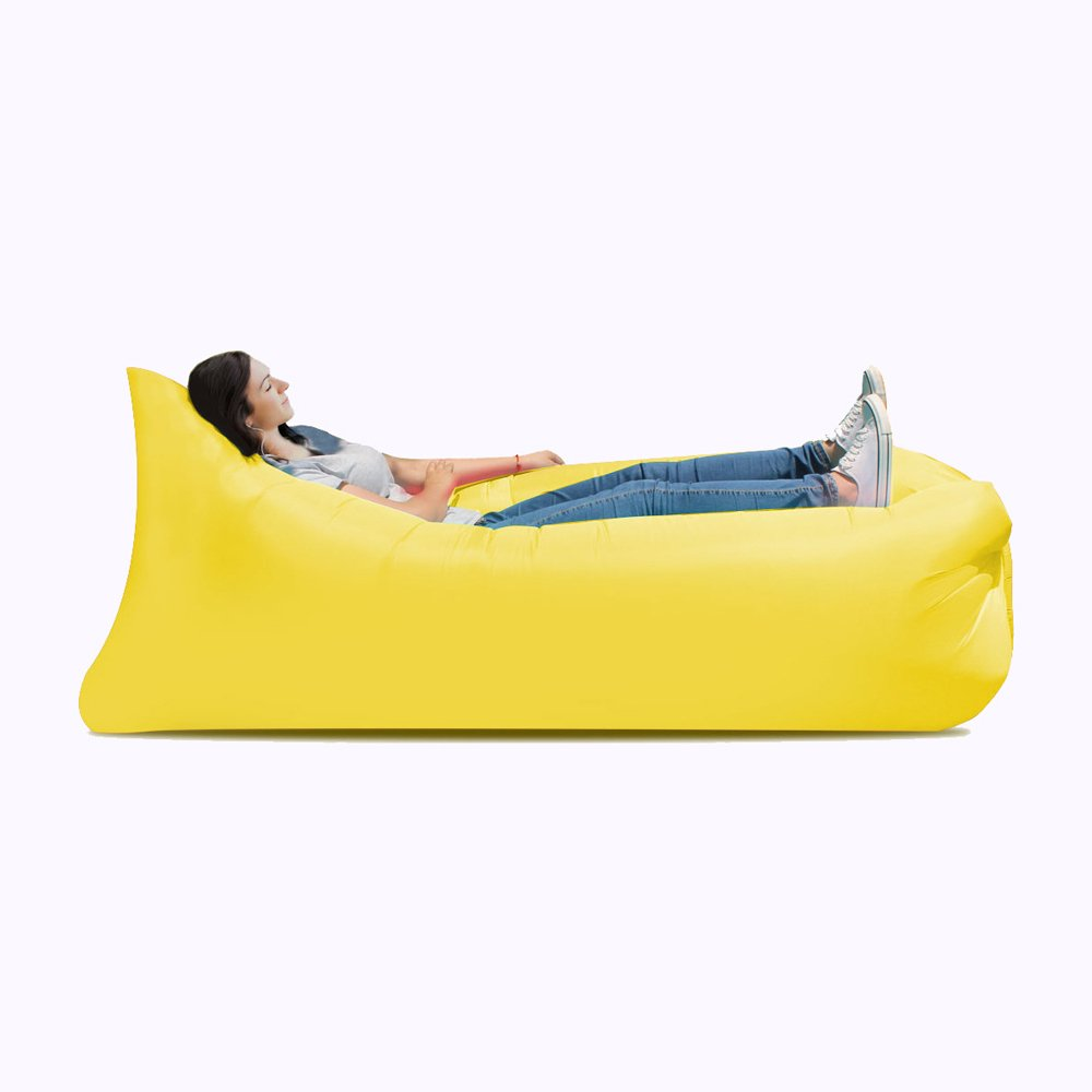 Ideal inflatable sofa, camping, portable waterproof leakproof sofa bed - perfect air chair for pool and beach party ( Color : Yellow ) by JYKJ
