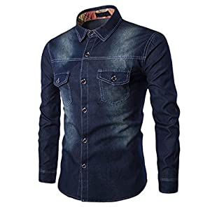 NREALY Men's Fall Casual Fashion Slim Fit Denim Cotton Long Sleeve Shirt Top Blouse