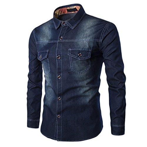 NREALY Men's Fall Casual Fashion Slim Fit Denim Cotton Long Sleeve Shirt Top Blouse(4XL, Dark Blue)