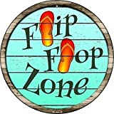 Metal tin sign roundTrigger Zone Pool Tropical BeachRetro wall decoration restaurant and bar home cave outdoor retro tin sign