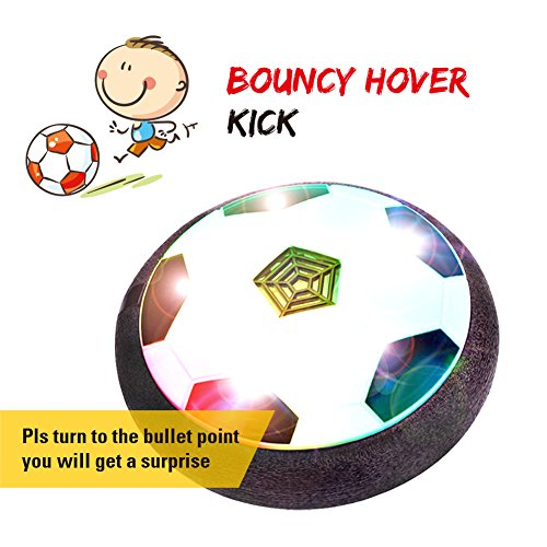 (SKYKING Air Powered Hover Soccer Ball with Foam Bumper and Day or Night LED Light Excellent for Indoor Football Training or Outdoor Soccer Games and Perfect Toys for Football Enthusiasts)