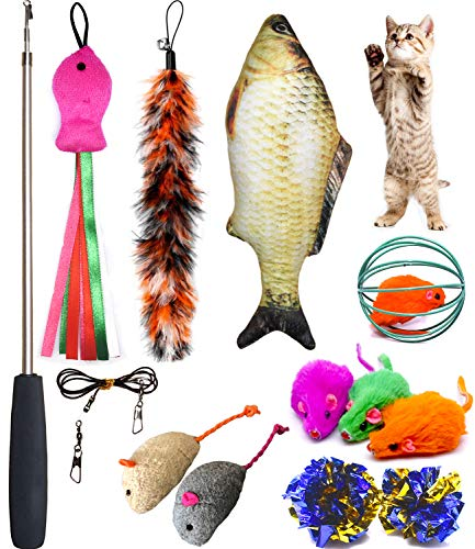 Teaser Cat Wand (PETOY Cat Toys Set, Cat Retractable Teaser Wand, Catnip Fish, Interactive Cat Feather Toy, Mylar Crincle Balls, Two Cotton Mice, Two Fluffy Mouse)
