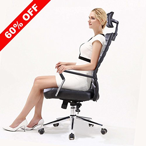 X-Office Executive PU Leather Computer Office Chair Black Desk Chair with High Back and Adjustable Headrest,Reclining Accent Chair with Tilt Lock by X-Office