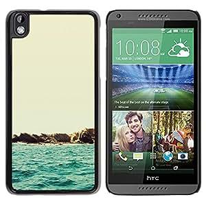 HTC DESIRE 816 - Metal de aluminio y de plástico duro Caja del teléfono - Negro - Beautiful Minimalist Beach Scenery