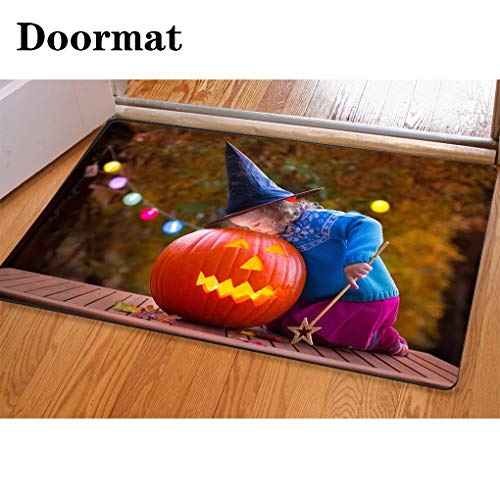 3D Printing and Dyeing,Bathroom Carpet, Door mat,Kids Carving Pumpkin at Halloween Flannel Foam Shower mat, Absorbent Kitchen Door Carpet -