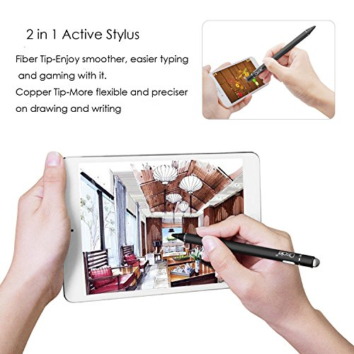 Stylus Pen, Ciscle iPad Active Stylus, 2 in 1 Precision Series with 1.6mm Fine Point Copper Tip and Mesh Tip, for Touch Screen Devices (iPad/iPhone/Andriod or More) -Black by Ciscle (Image #1)