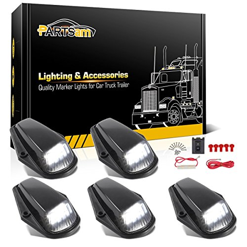 - Partsam 5X Cab Marker Light LED Top Roof Running Light Black Lens White 12LED Lights w/Wire Compatible with Ford Ford F150 F250 F350 1973-1997 F Series Super Duty Pickup Trucks