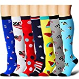 7 Pairs Compression Socks For Women and Men - Best Medical, Nursing, for Running, Athletic, Edema, Diabetic, Varicose Veins, Travel, Pregnancy & Maternity - 15-20mmHg (Assort8-L/XL)