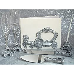 Elegant Silver Wedding Coach 7 Piece Fairy Tale Accessory Set