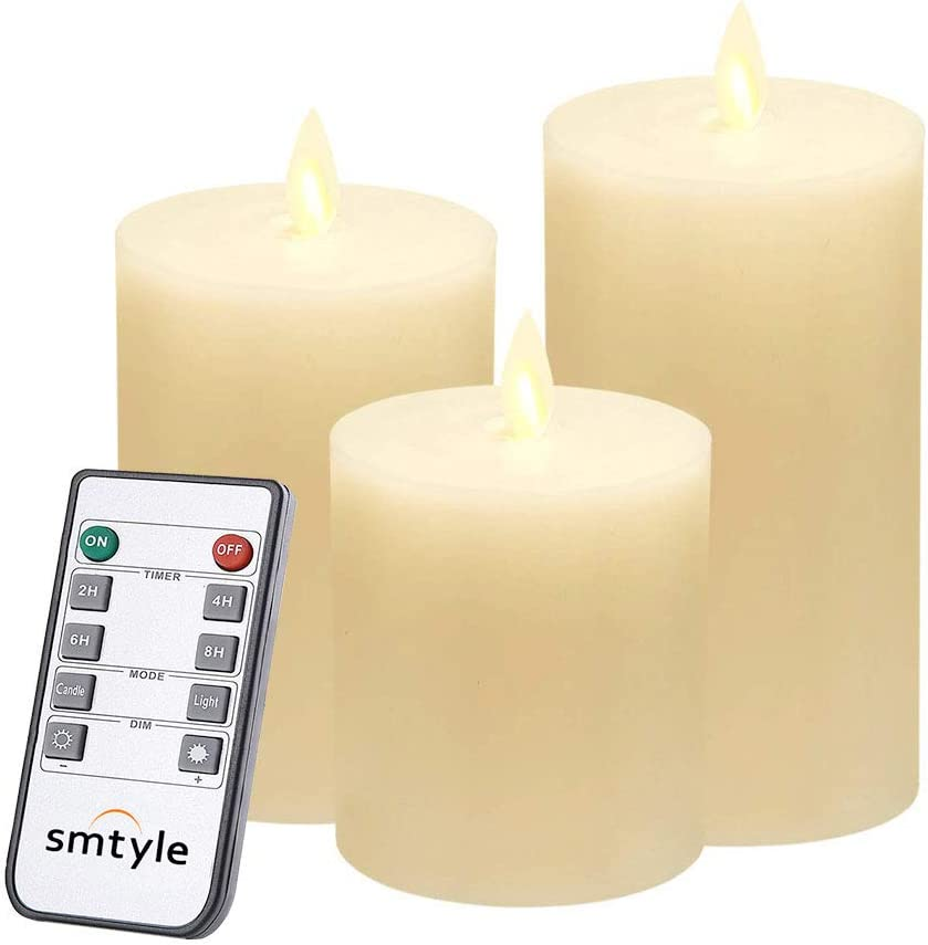 LED Timer Remote WAX Set 3 Flameless Pillar Ivory Candle Moving Flickering Wick