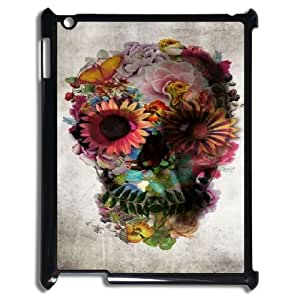 kimcase Custom Flowers Skull Case for iPad2,3,4