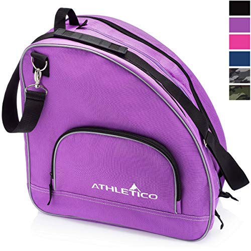 Athletico Ice & Inline Skate Bag - Premium Bag to Carry Ice Skates, Roller Skates, Inline Skates for Both Kids and Adults (Purple with Black Trim) (Best Ice Skates For Kids)