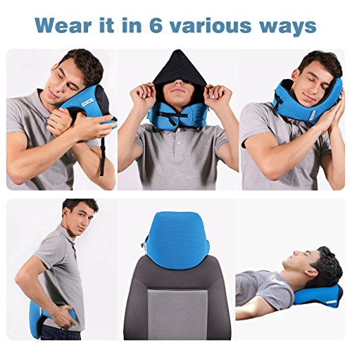 LANGRIA 6-in-1 Memory Foam Neck Support Travel Pillow with Detachable Hood Adjustable Neck Size for All Ages Side Elastic Pocket Neck Travel Cushion for Plane Train Car Bus Office (Blue) by LANGRIA (Image #3)