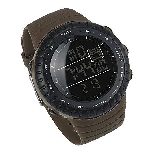 JiaMeng Deportes Reloj Digital, Militar del Cuarzo Militar del ejército Digital de los Deportes de la Banda Negra de los Deportes de la Moda (café): ...