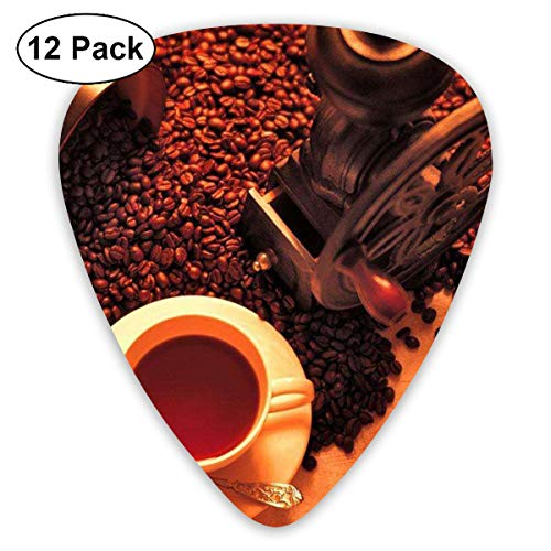Sun-dried Summer Coffee Beans 351 Shape Classic Celluloid Guitar Pick For Electric Acoustic Mandolin Bass (12 Count) ()