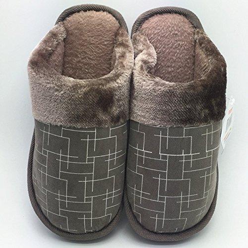 Cotone fankou pantofole inverno home soggiorno di spessore paio di pantofole indoor uomini pavimento antiscivolo caldo cotone e ,40-41, marrone