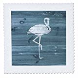 3dRose Russ Billington Nautical Designs - White Painted Flamingo on Blue Weatherboard- Not Real Wood - 20x20 inch quilt square (qs_261828_8)