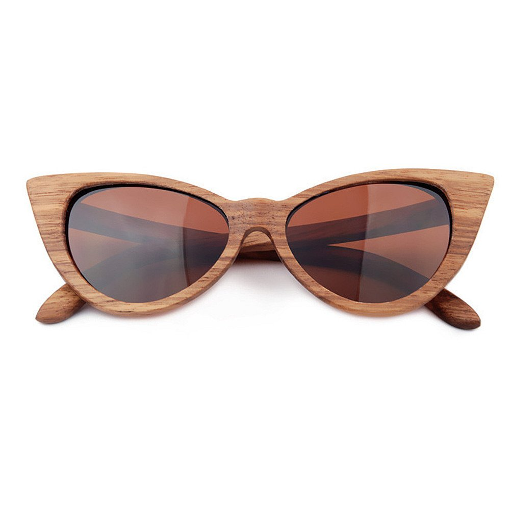 Brown Fashion Shades Sexy Cat Eyes colord Lens Lady's Wood Sunglasses UV Predection Handmade for Men Women Eyes Predection (color   bluee)