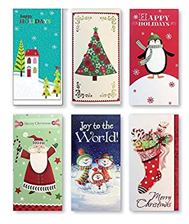 assorted embellished gift card and money holder cards for christmas assorted with penguins - Christmas Card Money Holder