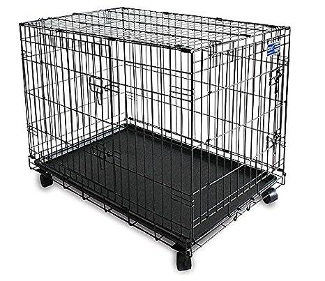 Simply plus - Jaula para Perro de Doble Puerta, con Ruedas, 60,96 cm, Color Negro: Amazon.es: Productos para mascotas