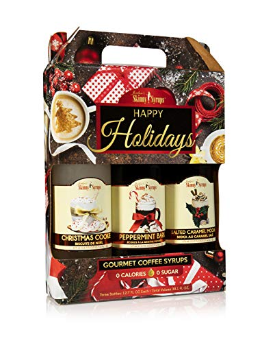 Jordan's Skinny Syrups Happy Holidays Gourmet Coffee Syrup Trio: Peppermint Bark, Christmas Cookie, Salted Caramel Mocha (One bottle of each and every taste, 12.7 Oz Each)