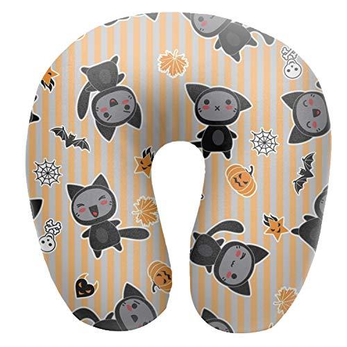 Soft Microfiber Neck Pillow, Halloween Cat Background Neck-Supportive Travel Pillow]()