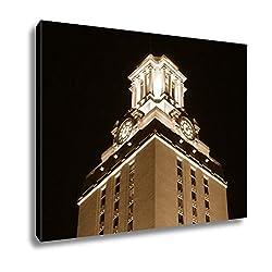 Ashley Canvas University Of Texas Clock Tower At Night, Wall Art Home Decor, Ready to Hang, Sepia, 16x20, AG5420254
