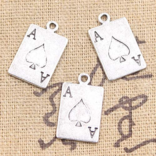 (Mct12-15pcs Charms ace of spades playing card poker 20x12mm Antique Silver Plated Pendants Making DIY Handmade Tibetan Silver Jewelry)