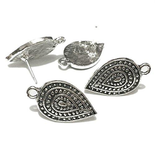 Chandelier Findings Accessories Bar Bohemian Luxury Elegant Tibetan Earrings Dangle Component Water Drop Links Connector Diy Making for Charms Pendants (Antique Silver, 23x13mm) (Elegante Component)