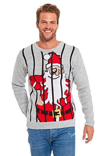 Men Ugly Christmas Sweater - YOU LOOK UGLY TODAY Unisex Christmas Sweater Santa in Cage-M