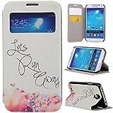 Galaxy S4 Case,Samsung Galaxy S4 Case,Gift_Source Samsung Galaxy S4 Flip Case [Slim Fit] Window View PU Leather Case Flip Cover Folio Case for Samsung Galaxy S4 i9500 Case,Flower