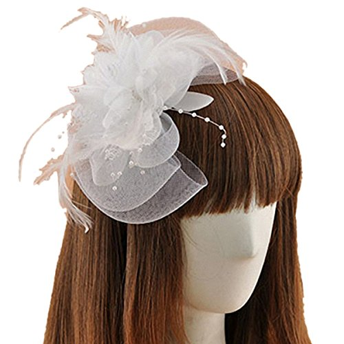 [Fascinator 1920s Hair Clip Feather Flower Bridal Wedding Party Headpiece Removable (White)] (White Top Hat Fascinator)