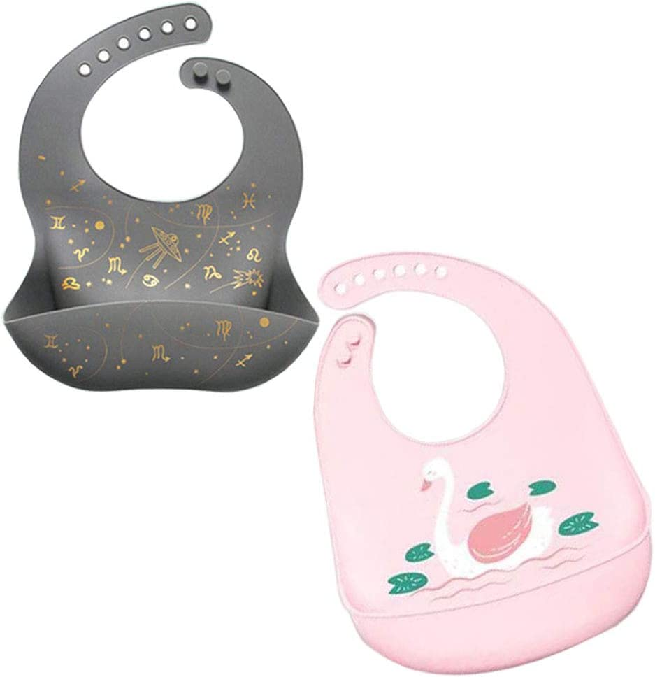 Baby Soft Silicone Feeding Bibs with Food Catcher Pocket Pouch for Eating Waterproof and Snap Button Suitable for Boys Girls Infants Toddlers (Pink swan)