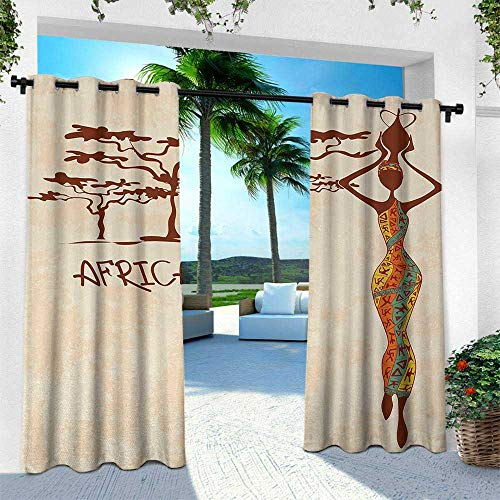 Hengshu African Woman, Outdoor Patio Curtains Waterproof with Grommets,Vintage Africa Themed Illustration Slim Indigenous Girl Figure Colorful Dress, W84 x L108 Inch, Multicolor ()