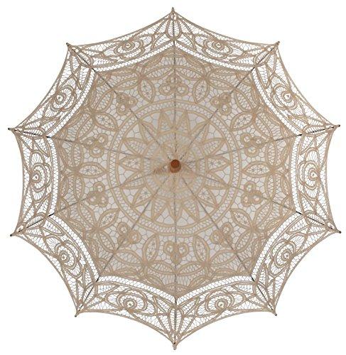 El 1para Vintage batternburg encaje sombrilla 8colores Ecru - Light Beige