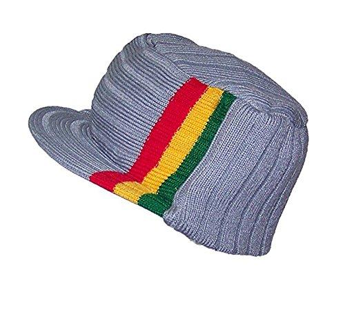 Rasta Striped Visor Beanie Jeep Cap Ski Hat (Grey-Rasta-Visor)