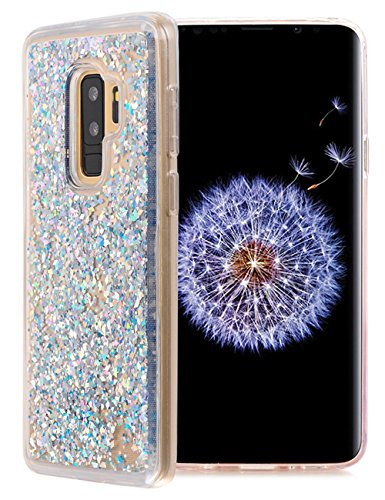 KAMII Galaxy S9 Plus Glitter Case, Luxury Liquid Sparkle Shiny Bling Quicksand Moving Stars Bling Glitter Floating Dynamic Flowing Transparent Case Cover for Samsung Galaxy S9 Plus / S9+ (Silver)