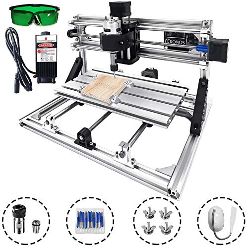 Mophorn CNC Router Kit 3 Axis PCB Milling Machine CNC 3018 Pro GRBL Control Mini CNC Machine Working Area 300x180mm Wood Router Engraver With 2500mW Blue Light Laser Head
