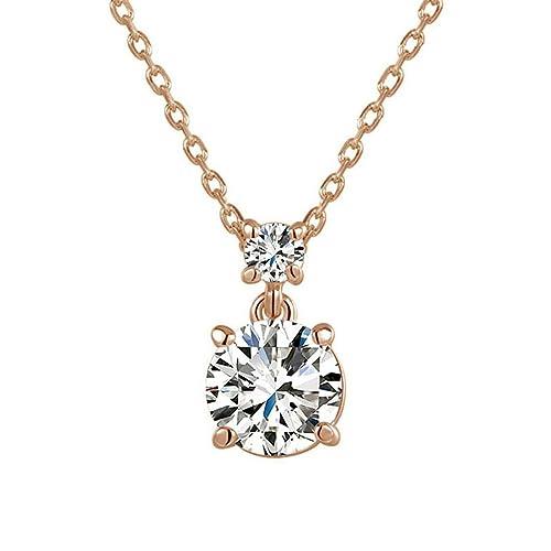 8968ea0486f5 hktc concisa 4 puntas boda joyas bañado en oro rosa 2 ct Gemini simulado diamante  Colgante Collar  Amazon.es  Joyería