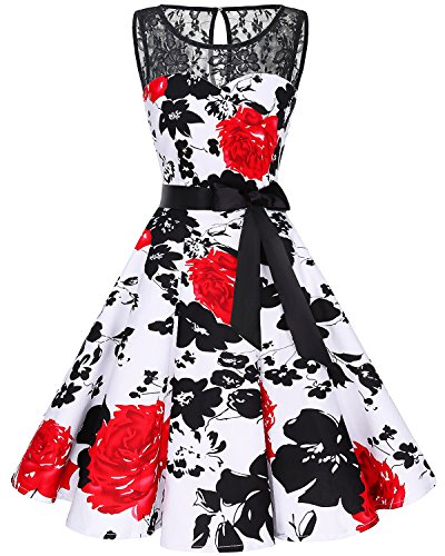 Bbonlinedress Women's 1950s Vintage Rockabilly Swing Dress Lace Cocktail Prom Party Dress Red Flower M -