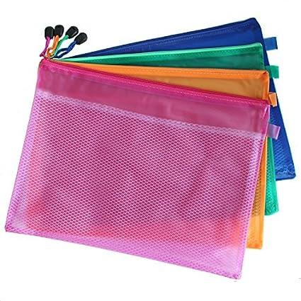 Bolsas estilo malla de doble capa e impermeables con cremallera, 5 unidades, bolsas tamaño A5, color aleatorio