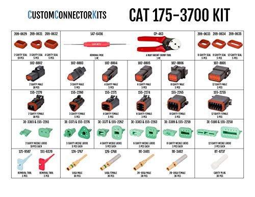 Caterpillar Kit CAT-175-3700 Deutsch Improved Seal DT-Series Field Service Kit with 4-Way Indent Crimp Tool: Environmentally Sealed Connectors for Caterpillar and Tractor Electrical Repair by CustomConnectorKits (Image #1)