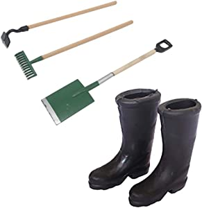 Dolls House Accessories,1/12 Scale Miniature Black Rain Boots Shoes Doll House Fairy Garden Accessories 3Pcs of Miniature Garden Lawn Tools Doll House Work Accessories with Shovel,Rake and Shovel