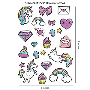 110 Unicorn Tattoos (5 Sheets) | Temporary Tattoos for Kids | Safe and Non-toxic Material | Pink Unicorn Tattoos | Unicorn Party Favors | Unicorn Party Supplies