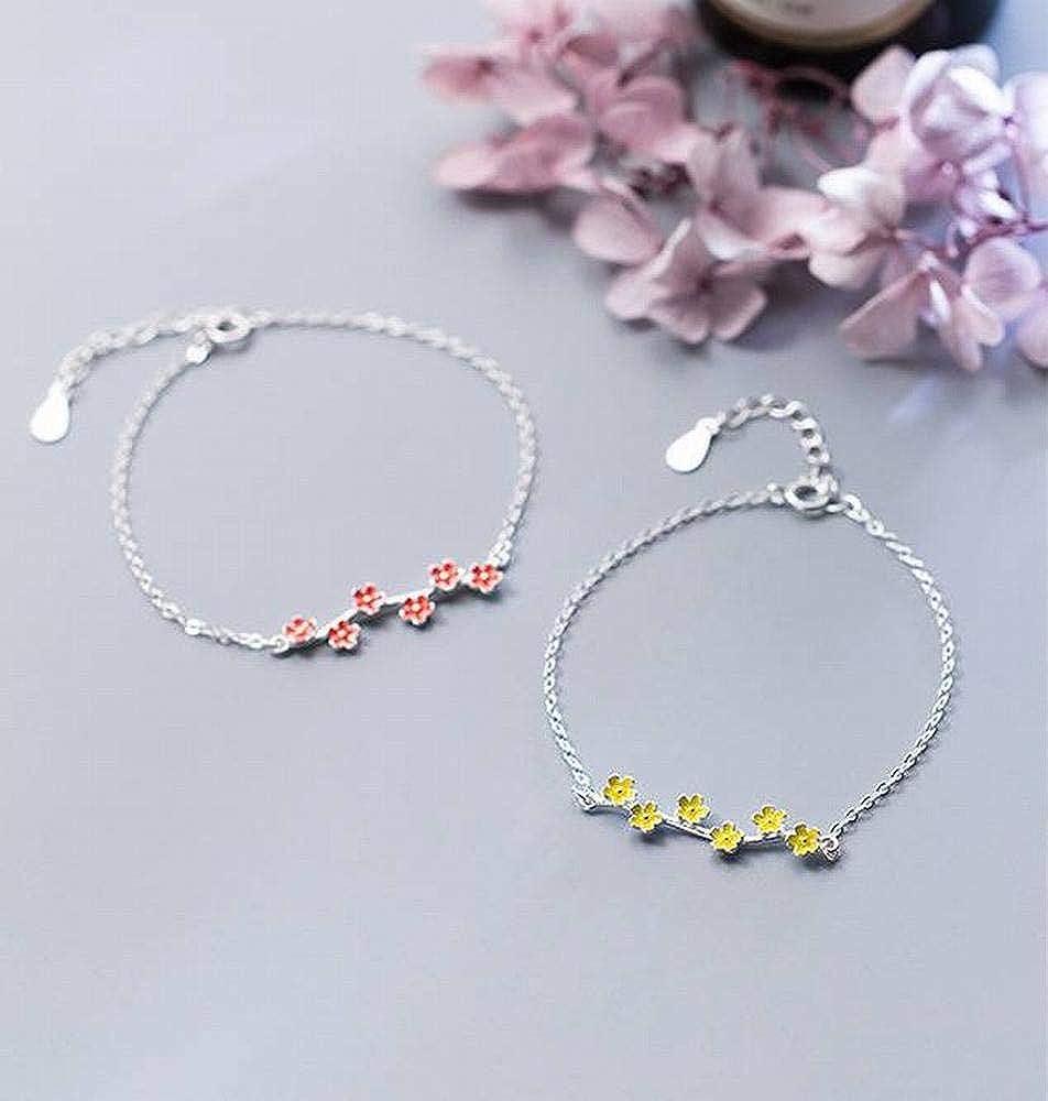 LOt Bangles Bracelets S925 Silver Bracelet Female Sweet Style Yellow Flower Bracelet Temperament Sweet Style Small Flower