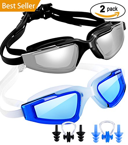 SBORTI 2 Pack Swimming Goggles Adult Women Men Youth,No Leaking,Anti Fog,UV Protection Swim Glasses Water Goggles