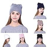 DEATU Knitted Cap Clearance, Men Women Teen Girl Winter Baggy Warm Crochet Wool Knit Ski Slouchy Hat Ladies Caps