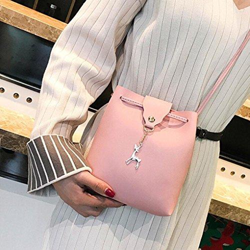Casual Satchel Bag Leather Hasp Ladies Bag Messenger Women Handbag Shoulder Vintage Lightweight Crossbody Bag Pink Fashion Small Cellphone Halijack Wallet Travel PWqgww5Z4x